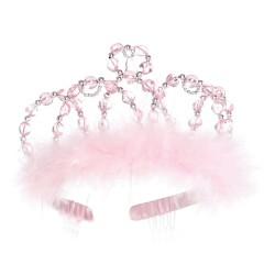 Tiara de princesa rosa y plata