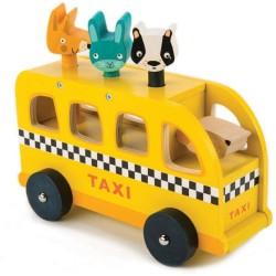 Taxi de animales de madera
