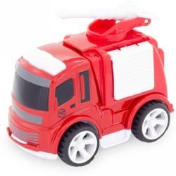Camión de bomberos con manguera y plataforma alta