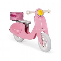 Scooter de equilibrio rosa de madera