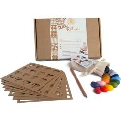 Ceras de colores Crayon Rocks (16 colores) + 8 plantillas en caja Rubeez
