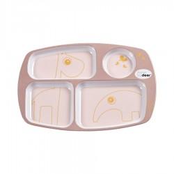 Plato con compartimento contorno rosa/dorado