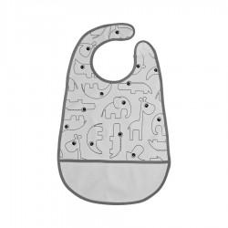 Babero impermeable gris con velcro (Contour)