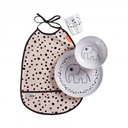 Set de vajilla con babero rosa (Happy dots)