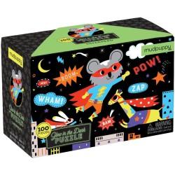 Puzle fluorescente de 100 piezas de los superhéroes
