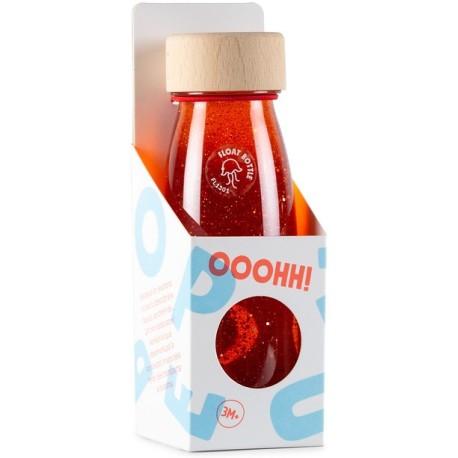 Botella sensorial con objetos flotantes (naranja)
