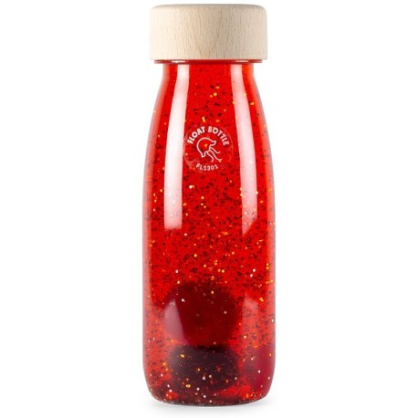 Botella sensorial con objetos flotantes (rojo)
