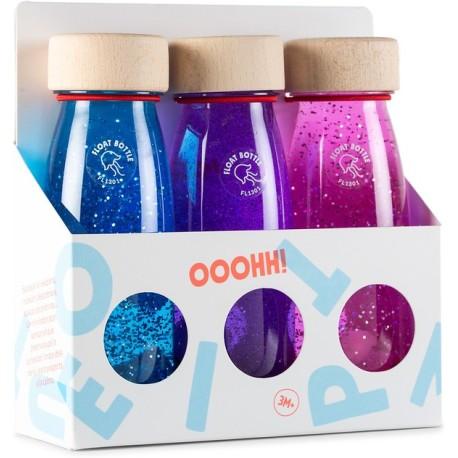 Pack de 3 botellas sensoriales con objetos flotantes (magic)