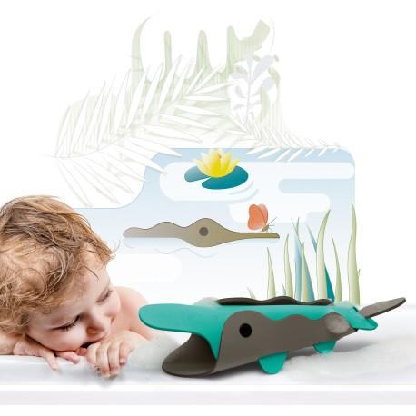 """Puzle 3D de baño de 6 piezas """"El cocodrilo en el río"""""""