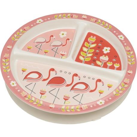 Plato antideslizante con 3 compartimentos Flamingo