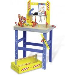 Banco de trabajo y caja de herramientas de madera (Large workbench with accessories)