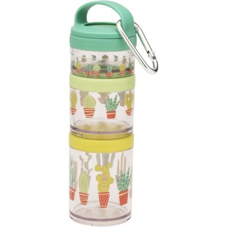 Set de 3 fiambreras apilables Happy Cactus