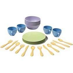 Set de platos, vasos y cubiertos de plástico eco