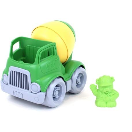 Camión hormigonera de plástico eco verde/amarillo