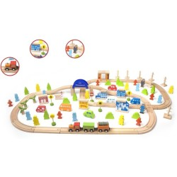 Tren de madera de 110 piezas