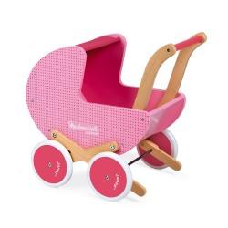 Cochecito de madera rosa