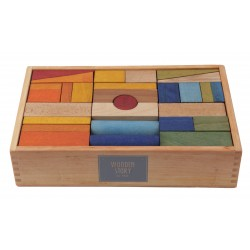 63 Bloques de construcción arcoíris XL de madera