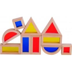 Caja de construccion de madera con ventanas