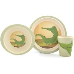 Set de plato, bol y vaso de bambú Cocodrilo