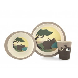 Set de plato, bol y vaso de bambú Hipopótamo