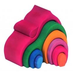 Casita de colores acoíris para encajar de madera