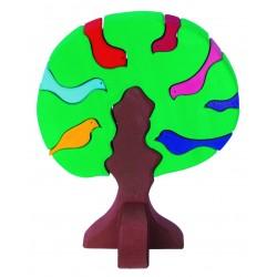 Puzle de madera Árbol y sus pajaritos de colores oscuro
