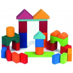 27 Bloques de construcción de madera de colores