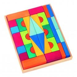 """36 Bloques de construcción de colores """"Toscana"""" de madera"""