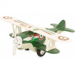 Avión biplano verde
