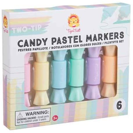 Rotuladores con olor y doble punta de color pastel