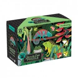 Puzle fluorescente de 100 piezas ranas y lagartos