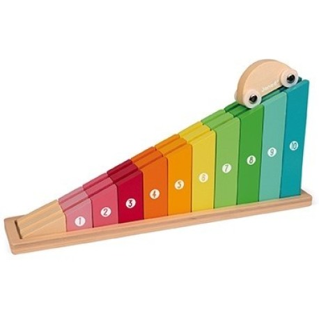 Rampa/puzle de madera para aprender a contar