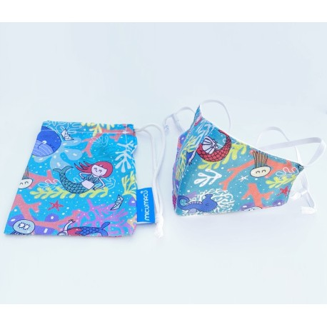 Mascarilla infantil reutilizable + funda (regulable) de 2 a 12 años de sirenas