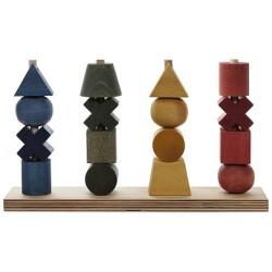 Formas apilables arcoíris de madera de 4 colores XL