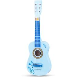 Guitarra azul con notas musicales de madera