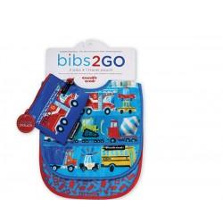 Pack de 2 baberos Bib2Go vehículos (Dinnerware Bib2Go Locomotive)