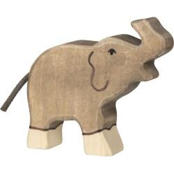 Elefante pequeño con la trompa levantada de madera