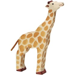 Girafa con la cabeza levantada de madera