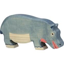 Hipopótamo pastando de madera