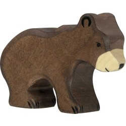 Oso marrón pequeño de madera