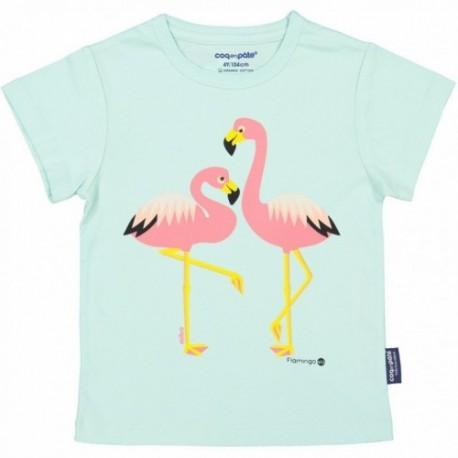 Camiseta de manga corta de algodón 100% orgánico de los flamencos