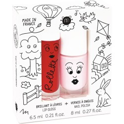 Set de pintalabios Cerise rojo y pintauñas Bella rosa pálido