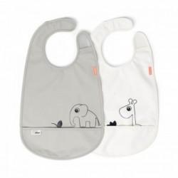 Pack de 2 baberos impermeables con velcro color gris y blanco