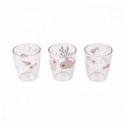 Pack de 3 mini vasos rosas palo Yummy de los amigos del mar
