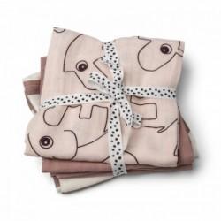 Pack de 3 muselinas de color rosa palo