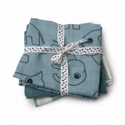 Pack de 3 muselinas de color azul