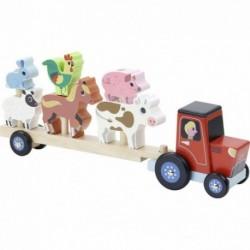 Tractor y remolque para apilar animales de madera