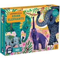 """Puzle de 300 piezas """"En peligro de extinción"""" del elefante asiático"""