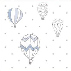 "Muselina pequeña de algodón ""night sky"" estampado hot air balloon"