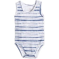 """Body sin mangas de algodón """"stripe indigo shibori"""" de 0 a 12 meses"""